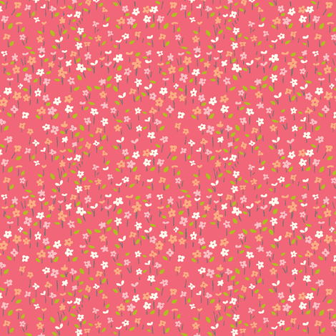 field_o_flowers_pink fabric by stacyiesthsu on Spoonflower - custom fabric