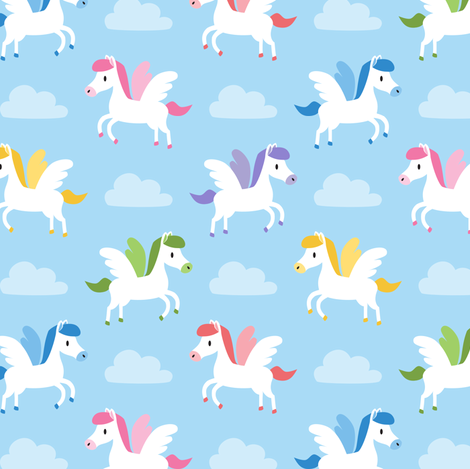 Cute Pegasus fabric by petitspixels on Spoonflower - custom fabric