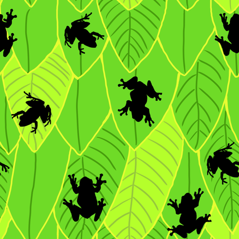 Silhouette Frogs Green Shades