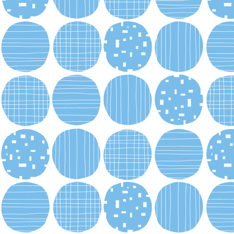 Blue circles (white background) fabric by greennote on Spoonflower - custom fabric