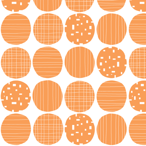Orange circles (white background) fabric by greennote on Spoonflower - custom fabric