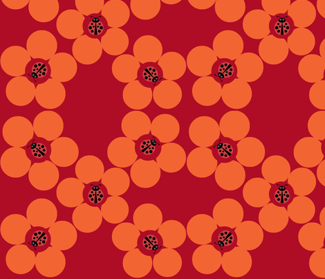 Ladybug Flower Power Rust fabric by disneymamom on Spoonflower - custom fabric