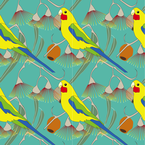 Rosella and Red Flowering Gum - green              fabric by fiona_sinclair_design on Spoonflower - custom fabric