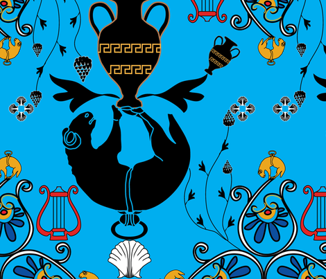 greek myth blue BT fabric by baleandtwine on Spoonflower - custom fabric