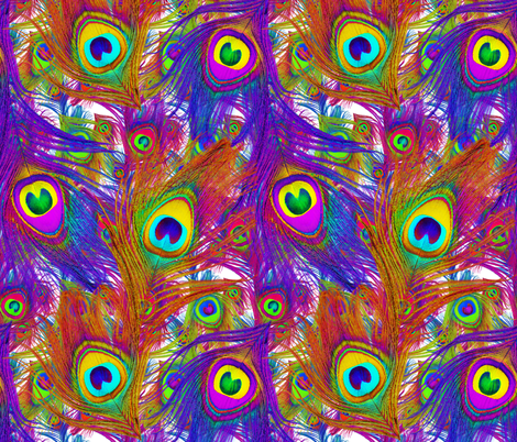 Sheena Is A Peacock Rocker With So Many Layers ~ White fabric by peacoquettedesigns on Spoonflower - custom fabric