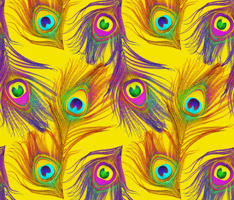 Sheena Is A Peacock Rocker~ Yellow fabric by peacoquettedesigns on Spoonflower - custom fabric