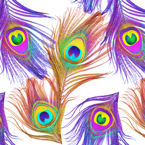 Sheena Is A Peacock Rocker ~ White fabric by peacoquettedesigns on Spoonflower - custom fabric