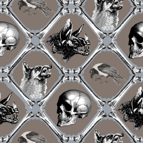 crows,bats,wolfes and bones fabric by sydama on Spoonflower - custom fabric