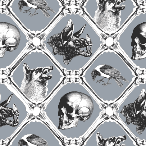 crows,wolfes, bats and bones 2 fabric by susiprint on Spoonflower - custom fabric