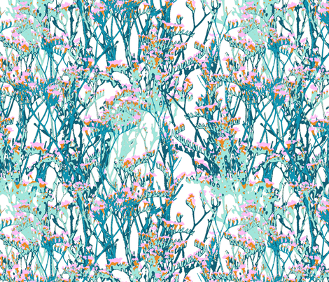 skopelos flowers snow fabric by katarina on Spoonflower - custom fabric