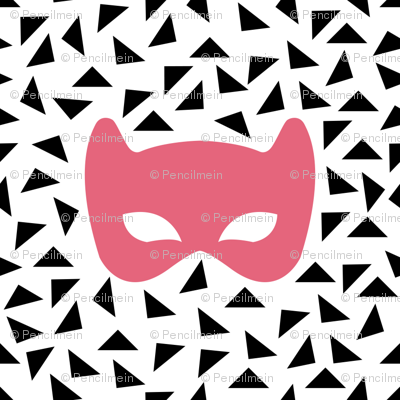 Black white and pink mask
