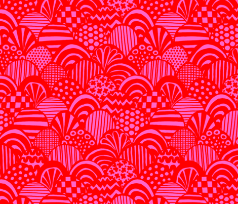 graphic scallop, pink / red fabric by circlealine on Spoonflower - custom fabric