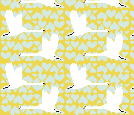 Swan - Gold fabric by owlandchickadee on Spoonflower - custom fabric