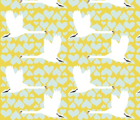 Swan - Gold fabric by owlandchickadee on Spoonflower - custom fabric
