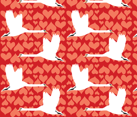 Swan - Red fabric by owlandchickadee on Spoonflower - custom fabric