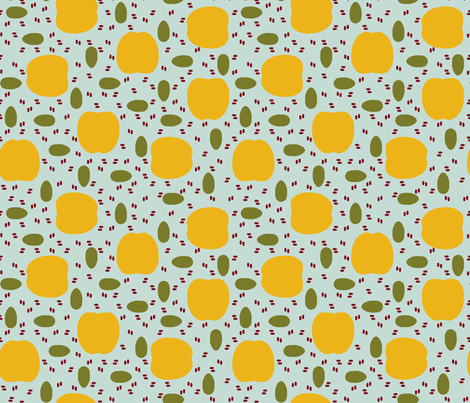 Golden apples, pomegranate seeds, and olives fabric by mongiesama on Spoonflower - custom fabric
