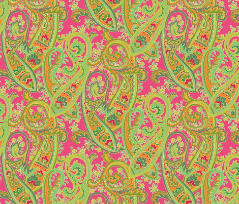 Fuchsia_Paisley fabric by kelly_a on Spoonflower - custom fabric
