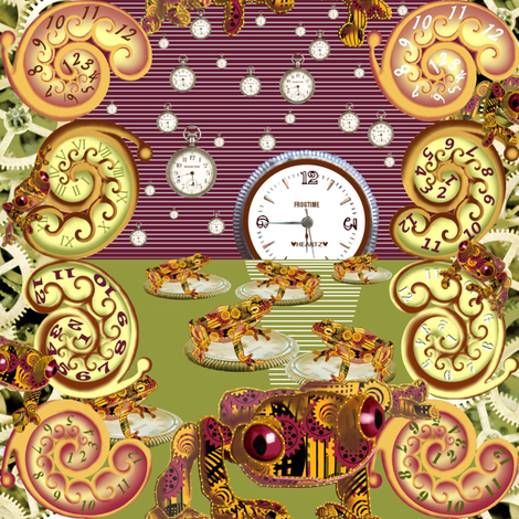Moonlight Sonata with Freddie Croaker and the Clockworks fabric by art_on_fabric on Spoonflower - custom fabric