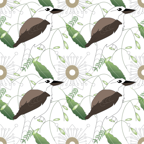kookaburra and Tick Bush - white fabric by fiona_sinclair_design on Spoonflower - custom fabric