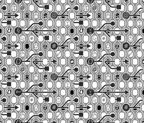 Geek_Spirit_Gray fabric by chicca_besso on Spoonflower - custom fabric