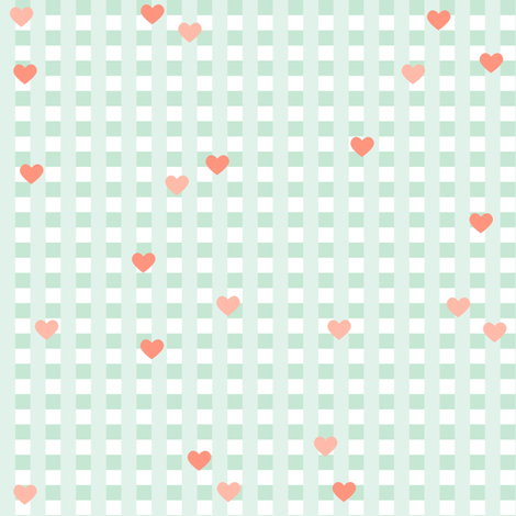 Check with hearts fabric by heleenvanbuul on Spoonflower - custom fabric