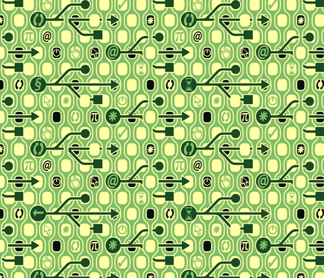 Geek_Spirit_Green fabric by chicca_besso on Spoonflower - custom fabric