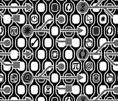 Geek Chic Spirit Big BW fabric by chicca_besso on Spoonflower - custom fabric