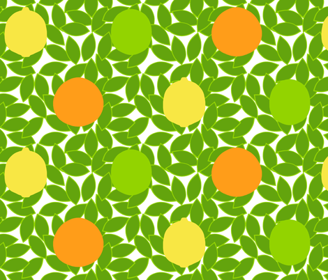 citrus_dots_on_leaves_white_background fabric by victorialasher on Spoonflower - custom fabric