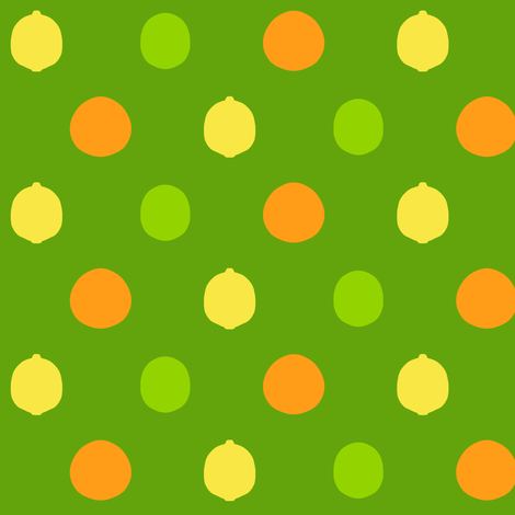 mod_citrus_dot_no_leaves_on_leaf_green fabric by victorialasher on Spoonflower - custom fabric
