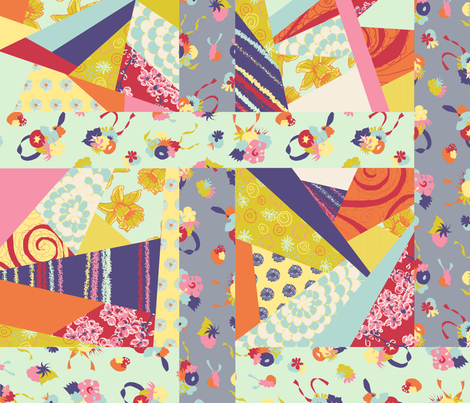 Floral Crazy Quilt fabric by halfaringcircus on Spoonflower - custom fabric