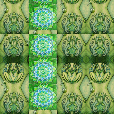 Green Frogz fabric by michiela on Spoonflower - custom fabric