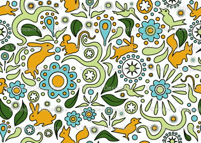 Rabbits in the Garden-orange and blue