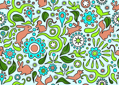 Rabbits in the Garden - Blue Background