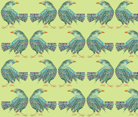 Gemini the Twin Bower Birds Olive fabric by smuk on Spoonflower - custom fabric