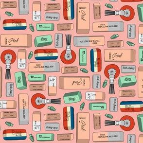 Eraserhead* (Mona Lisa) || erasers school office supplies vintage retro illustration typography math art science