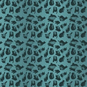 kitty cat leopard animal print - aqua green