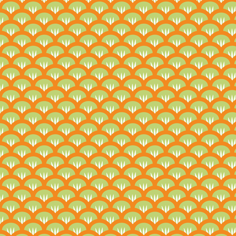 Suzy Woozy green orange fabric by jillbyers on Spoonflower - custom fabric