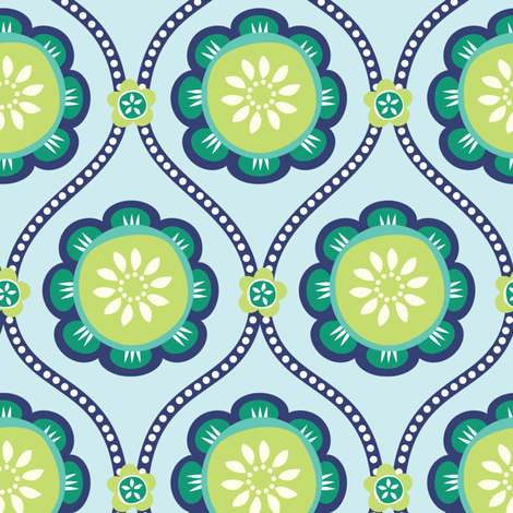 Citrus  Flower light blue fabric by jillbyers on Spoonflower - custom fabric