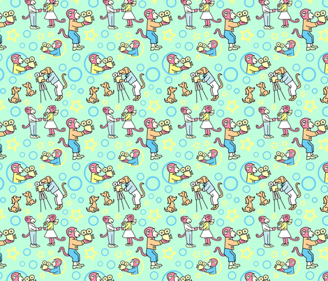 Movie Makers Bright Mint fabric by vinpauld on Spoonflower - custom fabric