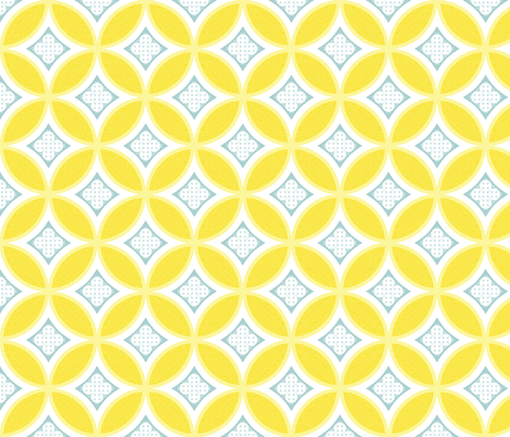 Mexican Mod Tile - daisy + mist fabric by marcador on Spoonflower - custom fabric