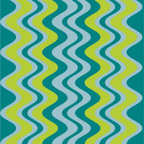 wave pattern teal fabric by alainasdesigns on Spoonflower - custom fabric