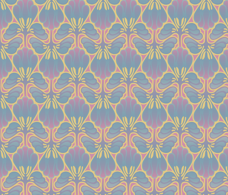 Art nouveau feathery design fabric by hannafate on Spoonflower - custom fabric