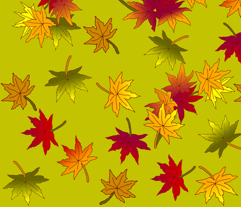 Autumn Leaves in Green Tea © seasparkles 2013 fabric by seasparkles on Spoonflower - custom fabric