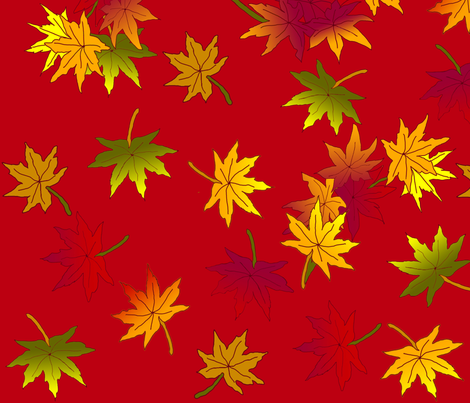 Autumn Leaves in Rust Red © seasparkles 2013 fabric by seasparkles on Spoonflower - custom fabric