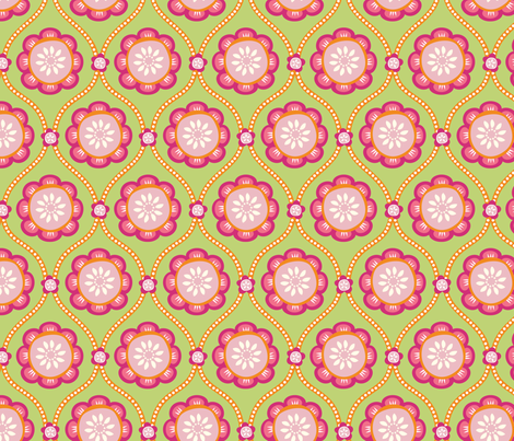 Citrus  Flower green fabric by jillbyers on Spoonflower - custom fabric