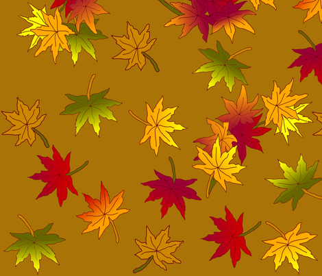 Autumn Leaves in Caramel ©indigodaze 2013  fabric by indigodaze on Spoonflower - custom fabric