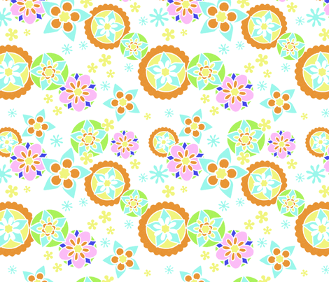 Mod Flowers white lines