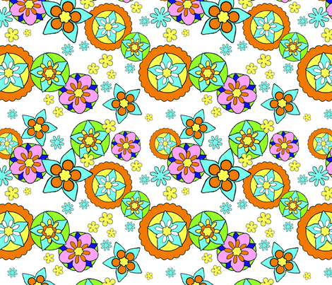 Mod Flowers Bright fabric by vinpauld on Spoonflower - custom fabric