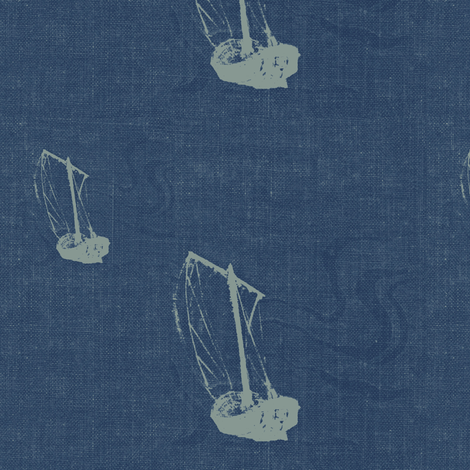Voyage -  gray and denim blue fabric by materialsgirl on Spoonflower - custom fabric
