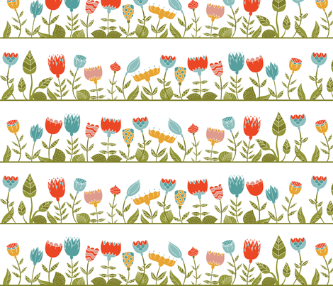 floral wall fabric by khandisha on Spoonflower - custom fabric